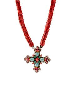 Loving this Coral Cross Pendant Necklace on #zulily! #zulilyfinds