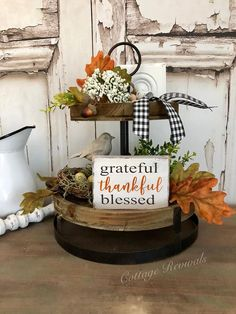 Small Sign for tiered tray. *Inclu Tiered Tray Sign Mini Sign Grateful Thankful Blessed Sign Small Sign for tiered tray Farmhouse Decor Farmhouse Sign Thanksgiving Decorations, Seasonal Decor, Table Decorations, Holiday Decor, Thanksgiving Ideas, Holiday Ideas, Centerpieces, Halloween Season, Fall Halloween