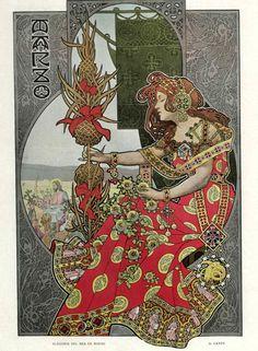 Gaspar Camps i Junyent (Spanish, painter, illustrator and poster artist of the Art Nouveau and Art Deco. From Álbum Salón Alphonse Mucha, Art Nouveau Mucha, Art Nouveau Poster, Design Art Nouveau, Art Design, Art Deco Artwork, Cool Artwork, Art Vintage, Vintage Posters