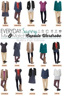Here is a Kohl's Capsule Wardrobe for Fall. It includes bright jewel tones and fun floral leggings. These pieces mix and match for 15 great outfits that will have you looking great this fall.