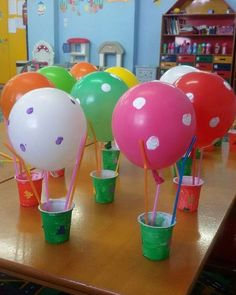 #lagyna #kindergarden #craft #balloon #colours #hot_air_balloon #recycle #bucket #straw Hot Air Balloon Craft For Kids, Paper Crafts For Kids, Arts And Crafts, Transportation Crafts, Science Experiments For Preschoolers, Balloon Crafts, Recycled Crafts, Summer Crafts, Creative Crafts