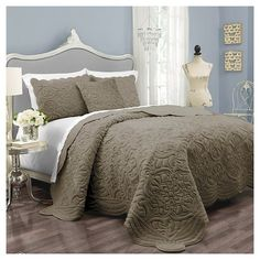 Coverlet Set Charlotte Plush Décor Faux Fur King -3 piece Taupe Gray Vue…