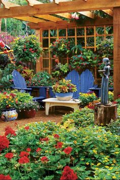 Use an outdoor room, like the space under a pergola, as a place to mix your containers. This groupin... - By the Editors of Southern Living