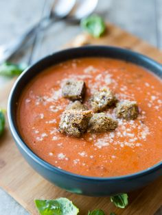 Tomato Basil and Brie Soup with Parmesan Croutons // veggieandthebeastfeast.com