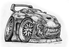Toyota Supra, Caricature, America Dad, Car Animation, Cool Car Drawings, Cars Coloring Pages, Truck Art, Mini Trucks, Cars And Coffee