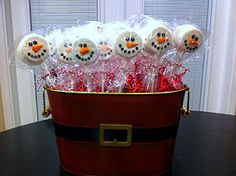 Snowman Cookie Pops-could do with white chocolate dipped oreos or peanut butter crackers dipped and decorated
