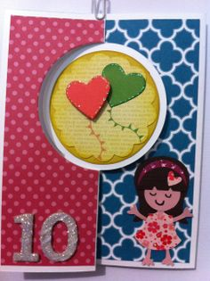 Birthday card for 10 year old girl card crafting pinterest 10 stampin up circle thinlits die closed 10 year old girl birthday card bookmarktalkfo Gallery