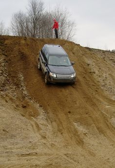 What fun having an SUV that can actually handle steep slopes with no problems. 2013 Land Rover LR2.