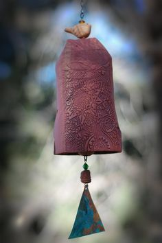 Clay Wind Chime Garden Bell with Starburst Pattern, Patina Copper Bell and Bird Accent – Rustic Garden Decor