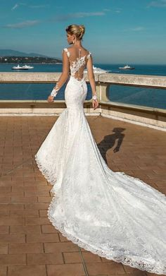 mermaid wedding dress with long bare sleeves and . - Wedding and bride - mermaid wedding dress with long bare sleeves and … – # bare dress - Dream Wedding Dresses, Bridal Dresses, Wedding Gowns, Bridesmaid Dresses, Lace Wedding, Modest Wedding, Lace Fishtail Wedding Dress, Wedding Dressses, Backless Wedding