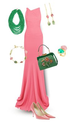 """""""Pink And Green"""" by jeanstapley ❤ liked on Polyvore featuring Roland Mouret, Jimmy Choo, Pippa Small, Dolce&Gabbana and Didi Jewellery"""