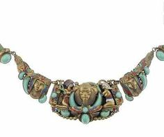 RARE ANTIQUE VINTAGE ART DECO NEIGER BROTHERS EGYPTIAN REVIVAL NECKLACE COLLAR