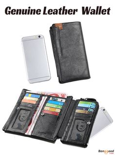 US$27.99 + Free shipping. Men Wallet, Genuine Leather Wallet, Long Wallet, Large Capacity Tri-fold Wallet. Color: Black. 17 Card Holders, Bill Holder, 2 Photo Holders, 1 Zipper Pocket, 1 Phone Bag. Fits Everything Without Feeling Too Bulky.