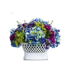 Blue Purple Lavendar Mix In White Lattice Bowl ($2,500) ❤ liked on Polyvore featuring home and kitchen & dining