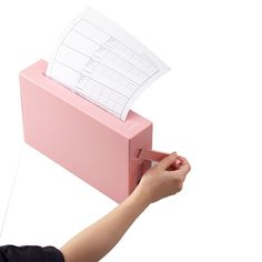 Hand-cranked paper shredder.  No power necessary. Compact size.  Comes in white, pink and blue. $44.00