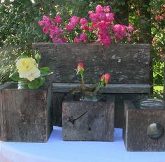 modern centerpieces barnboard boxes -- customize to fit jars as vases or raised for candle-holders