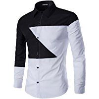 jeansian Men's Irregular Stitching Long Sleeves Dress Shirts 3 Colors 84C6