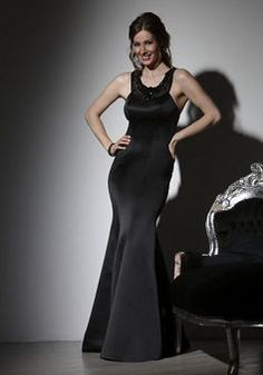 Fancy Mermaid Satin Jewel Sleeveless Evening Party Dress With Beading - 1300258207B - US$99.49 - BellasDress