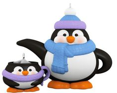 Penguin lovers will rejoice with this Tea Time! ornament set.