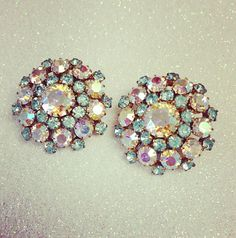 Vintage Star Earrings // Stunning, Large Sparkly Rhinestone Statement Earrings, Signed
