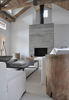 Thousands of curated home design inspiration images by interior design professionals, architects and decorators. Inspiration for every room in the home! Style At Home, Concrete Fireplace, Concrete Wood, Fireplace Modern, Fireplace Stone, White Concrete, Simple Fireplace, Concrete Texture, Wood Stone