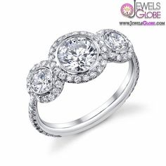 3 Stone Engagement Rings With Halo Setting 3