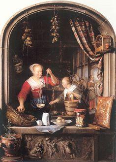 Gerrit Dou, Il negozio di alimentari (The grocery shop), 1672, Royal Collection Trust/© Her Majesty Queen Elizabeth II, olio su tela, 48,5 x 35,3 cm #shopinart