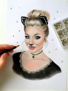 Hello kitty Cartoon Drawings Of People, Drawing People, Ruby Tuesdays, Beautiful Sketches, White Pen, Pen Sketch, Fashion Illustrations, New Art, Art Drawings