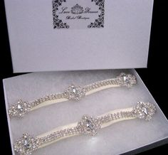 Crystal Wedding Garter Set, Rhinestone Bridal Garters, Keepsake and Toss Heirloom Ivory White Garters via Etsy
