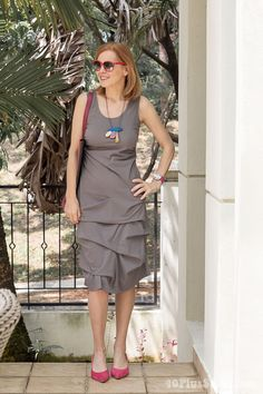 We love this combination with the Casbah dress,combining gray with turquoise and pink   40plusstyle.com www.getdressed2.com