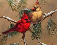 Krista Eaton Gallery of Original Fine Art Christmas Paintings, Christmas Art, Pretty Birds, Beautiful Birds, Cardinal Birds, Bird Pictures, Watercolor Paintings, Bird Paintings, Watercolours