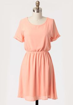 Simple Spring Dress In Peach