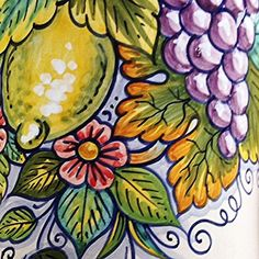 Bonechi Imports - Detail of the cheerful and colorful Deruta Canister with fruits and flowers