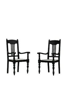 50% OFF Better Living Set of 2 Vintage Masterji Chairs, Dark Walnut