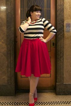 Ahoy! Gorgeous navy & white stripes with a full red circle skirt