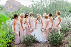 pink bridesmaid dresses - photo by Pinkerton Photography http://ruffledblog.com/casual-glam-wedding-in-paradise-valley
