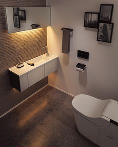 Excite Your Visitors with These 14 Cute Half-Bathroom Styles Bathroom Sink Cabinets, Bathroom Toilets, Laundry In Bathroom, Room Interior, Interior And Exterior, Home Room Design, House Design, Ideal Bathrooms, Toilet Room