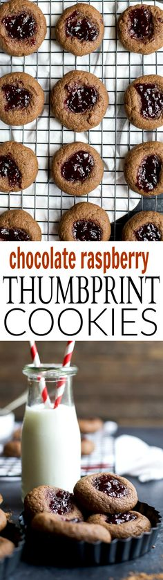 These RASPBERRY CHOCOLATE THUMBPRINT COOKIES have a subtle chocolate ...