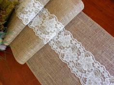 Burlap and lace table runner rustic wedding table runner farmhouse table decor bridal shower party decor