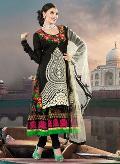 Black Pure Georgette And Chanderi Anarkali Suit