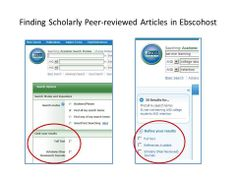 Finding scholarly peer reviewed articles.