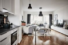 bostadervitec - 55 kvadrat Room Furniture Design, Small Apartment Decorating, Small Apartments, Table, Inspiration, Houses, Spaces, Home Decor, Wallpaper