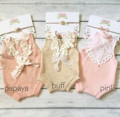 Newborn Lace Back Tank Romper baby girl jumper by PetuniaandIvy- I like the 2 on the left in pink and papaya