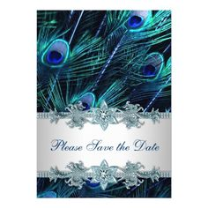 Purple Wedding Save the Date Cards Royal Blue Peacock Wedding Save the Date Card
