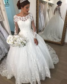 Elegant Scoop Neck Long Sleeve Ball Gown Wedding Dress With Lace Appliques vestido de noiva Wedding Bridal Gowns robe de mariee Wedding Dress Buttons, Wedding Dress Sleeves, Long Sleeve Wedding, Wedding Dresses 2018, Princess Wedding Dresses, Bridal Dresses, Gown Wedding, Lace Wedding, Trendy Wedding