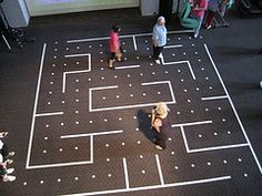 """Life Size Pac-Man Use tape on the floor. Put down coins for the dots. Try to collect all the coins while the """"ghosts"""" try to catch you. This looks awesome!"""