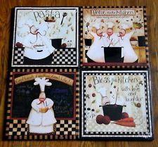 4 Italian Fat Chef Bistro Kitchen Decor Canvas Wall Art Prints Picture Plaques | eBay