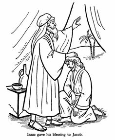 Isaac gave his blessing to Jacob, Bible Story Coloring Page