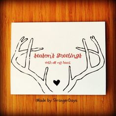 "Christmas Card. Holiday Card. "" Season's Greetings "" with all my heart. Merry Christmas.. $4.00, via Etsy."