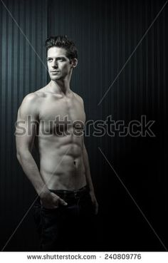 Shirtless Toned Muscular Caucasian Male